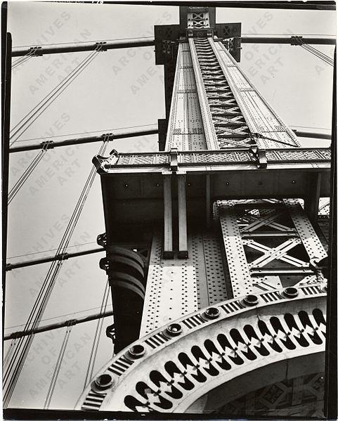 MANHATTAN BRIDGE LOOKING UP by Berenice Abbott in 1936 | © Berenice Abbott/WikiCommons