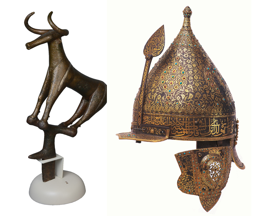 On the left: Top of a standard in the shape of a bull,ca: 2300/2200-2000 BBC and on the right: Parade helmet, Ottoman period- mid. 16th century