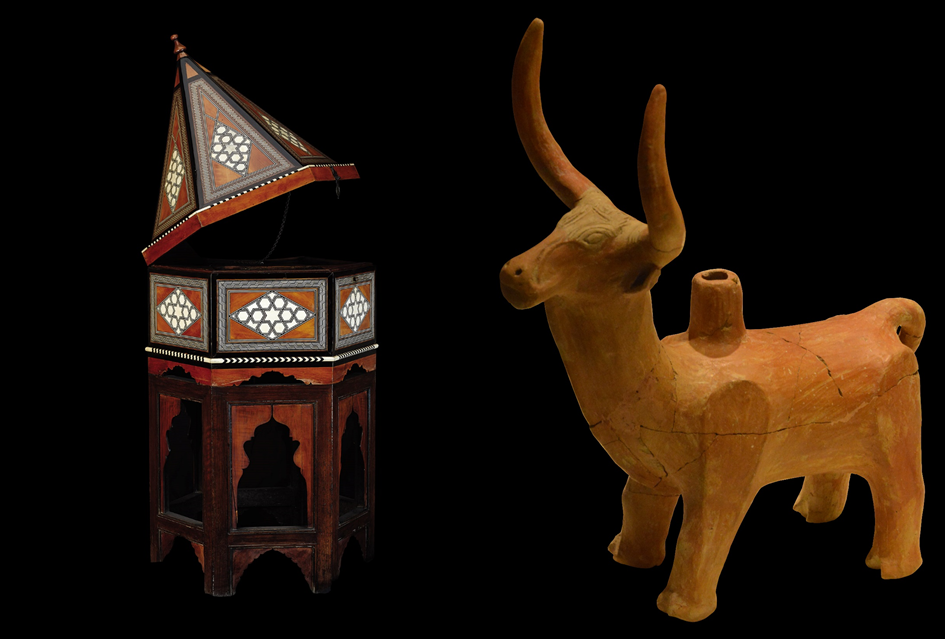 On the left: Quran case, Ottoman period-17th century and on the right: Bull-shaped rhyton, Hittite period-16th century BC