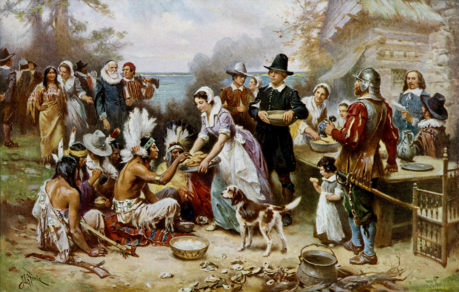 The First Thanksgiving | © Jean Leon Gerome Ferris/WikiCommons