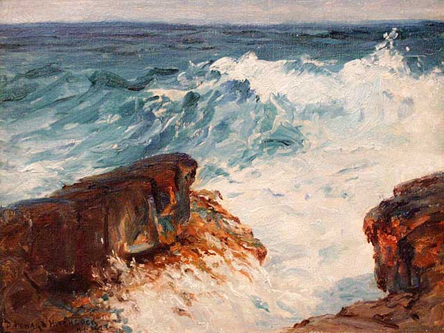 Washing Surf - Lava Rock, Puna Coast of Hawaii', oil painting  © D. Howard Hitchcock/WikiCommons
