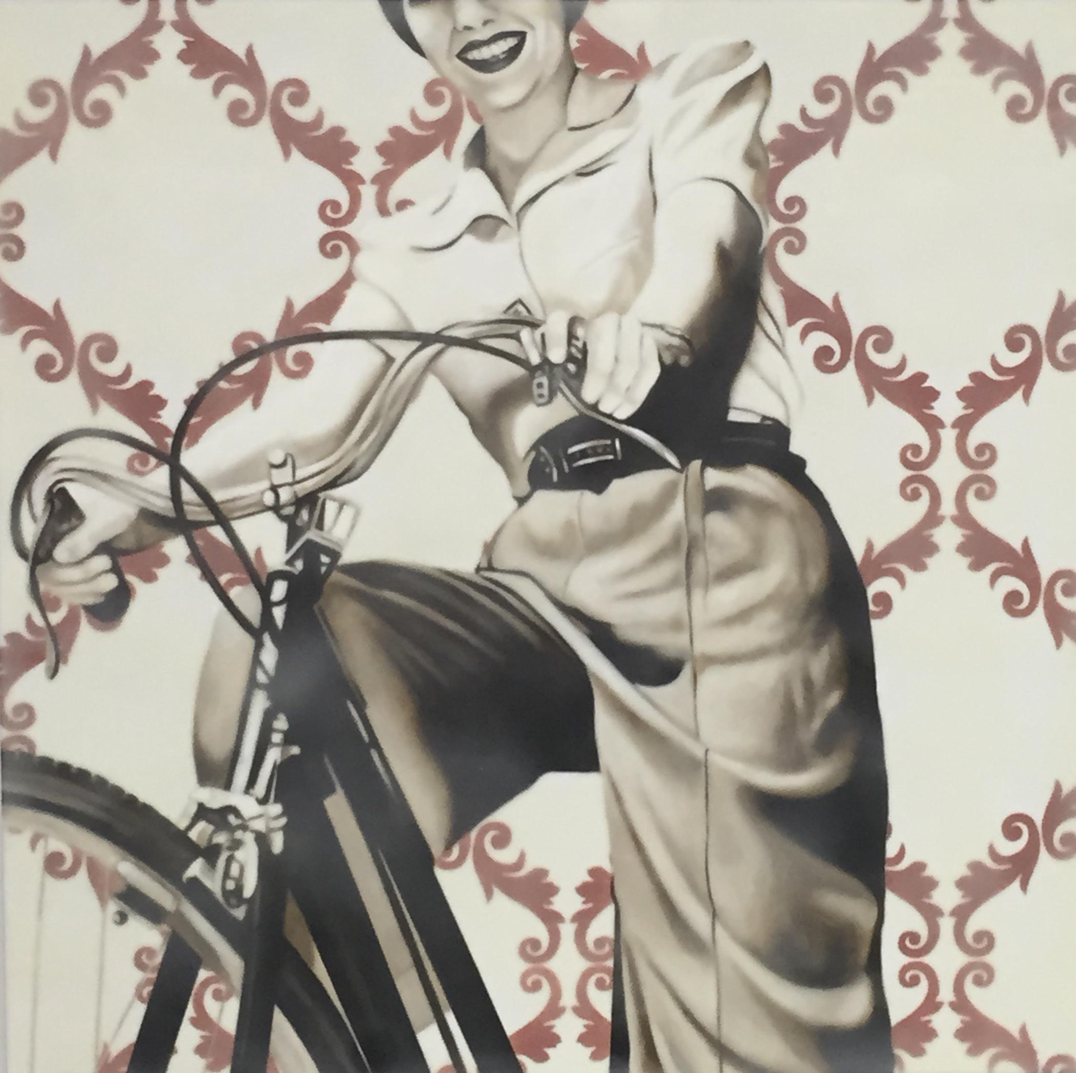 Bike Ride 30x30 (oil and encaustic wax) | Courtesy of Jhina Alvarado