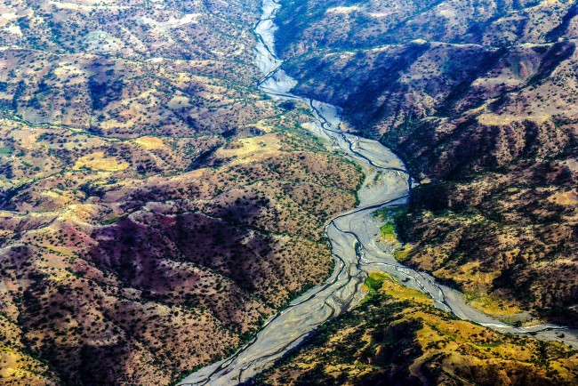 Aerial view of a river in Ethiopia