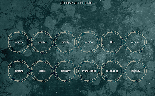 'Choose your emotion', le déserteur app. The app studies the link between diverse emotions and works of art. / Courtesy of Sylvain Souklaye