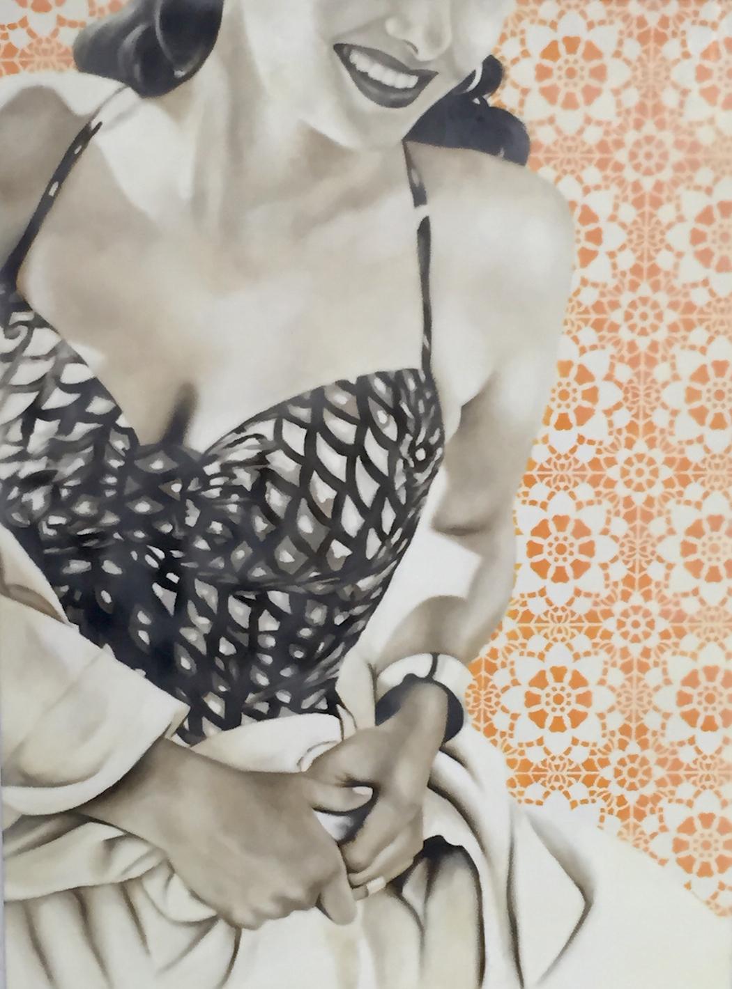 Scalloped Bathingsuit 40x30 (oil and encaustic wax) | Courtesy of Jhina Alvarado