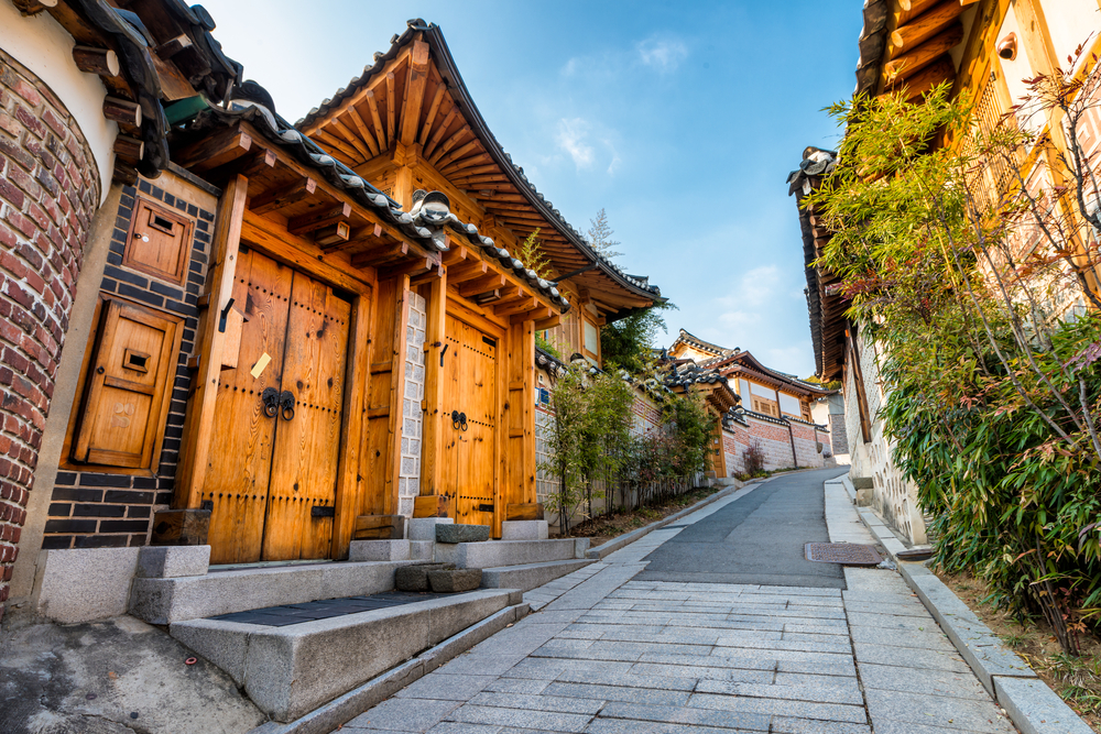 Towns in South Korea, Traditional Korean style architecture at Bukchon Hanok Village in Seoul, South Korea © Vincent St. Thomas / Shutterstock