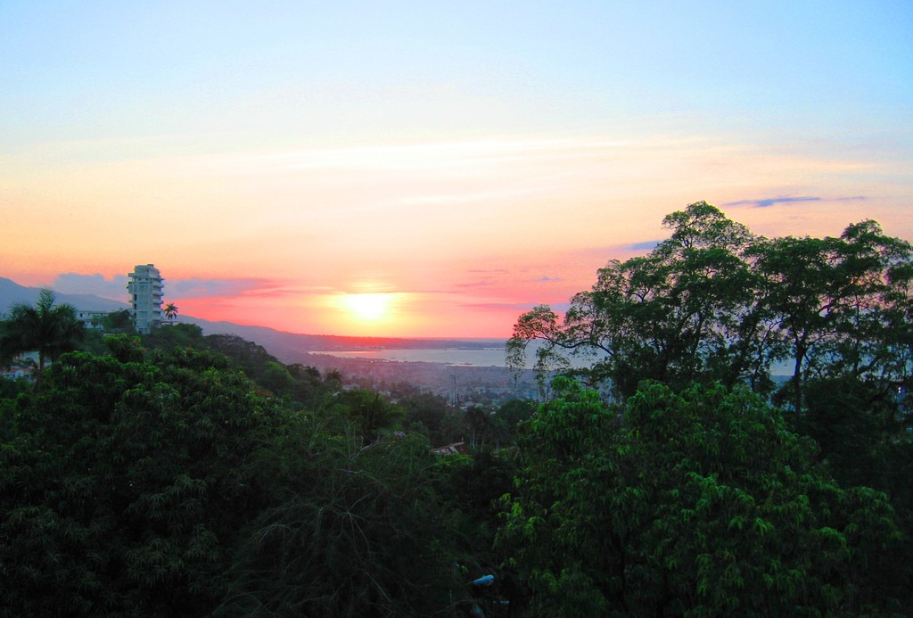"View of the sunset from the roof of the ""Le Prince"" Hotel, Port-au-Prince 