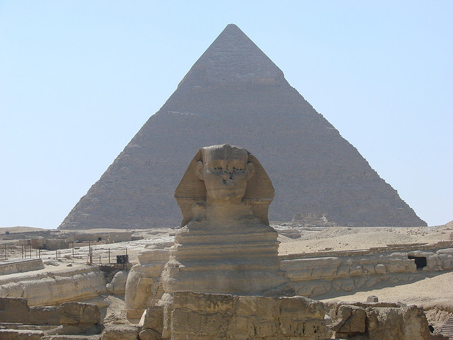 The Sphinx and one of the Pyramids at Giza  © Michael Goodine/Flickr