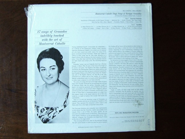 Backside Enrique Granados - Montserrat Caballe, Rafael Ferrer SO, RCA Victor LSC-2910 /Flickr