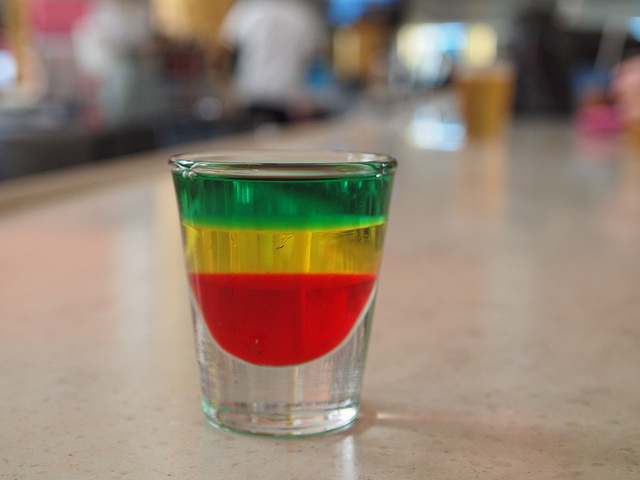 Yellow Green And Red Level Alcoholic Drink
