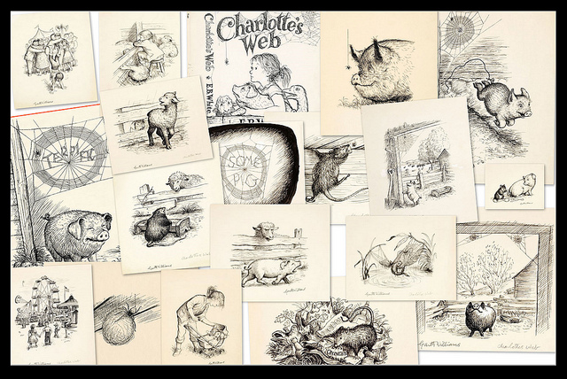 Charlotte's Web - collage of original pen + ink sketches 1952 by Garth Williams | © Paul K/Flickr