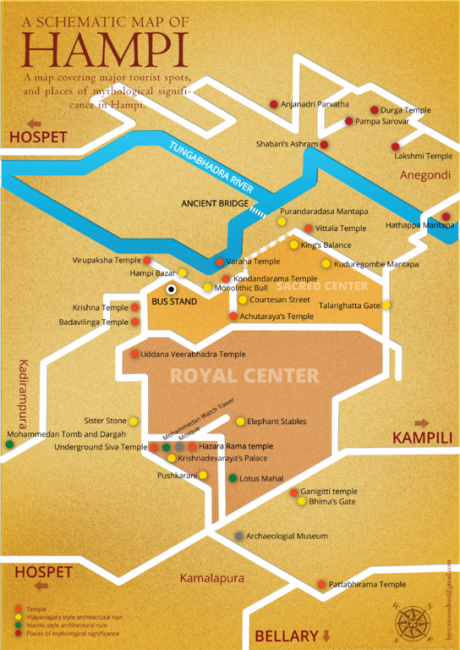 Schematic map of Hampi | © Sixpoint85/WikiCommons