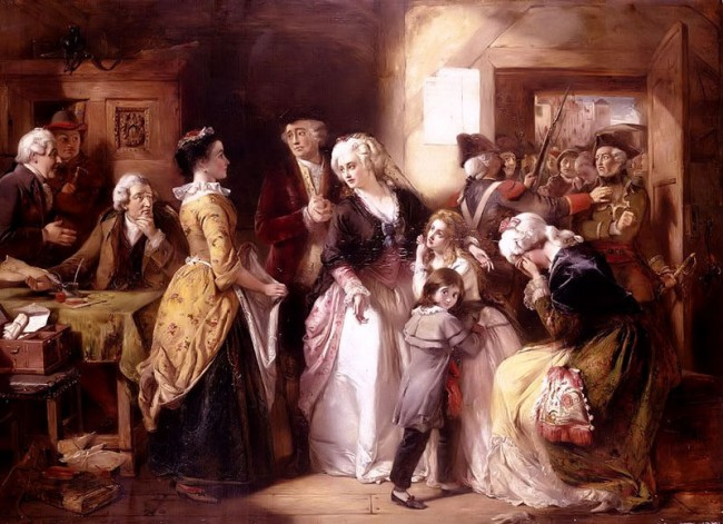 The arrest of Louis XVI and his family at the house of the registrar of passports, at Varennes in June, 1791/artist Thomas Falcon Marshall/©WikiCommons