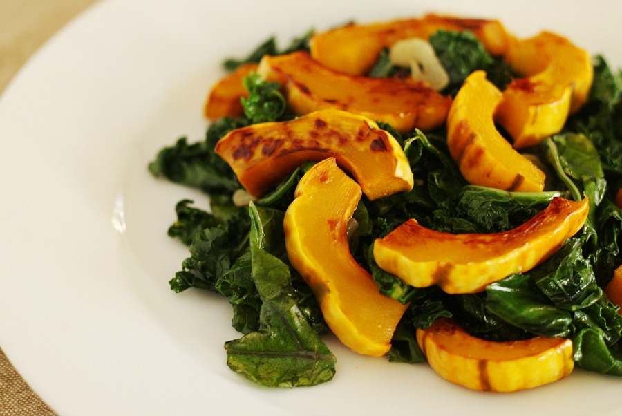 Roasted delicata squash with kale| © Stacy SpensleyFlickr