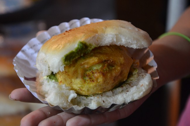The very buttery, loaded with chutney vada pav outside mithibai college © Sucheta Thakur