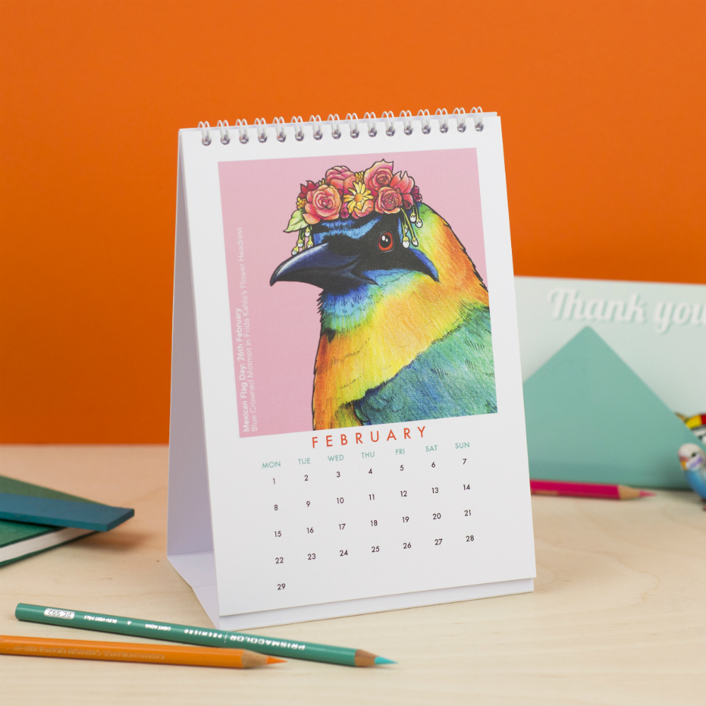 Alice Tams 'Birds in Hats' Desktop Calendar | Courtesy of Etsy