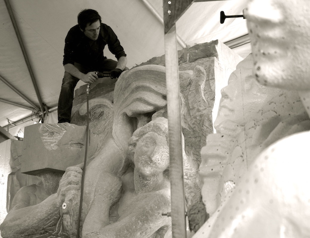 Carving a reproduction of the 1927 Spirit of the Ocean Fountain
