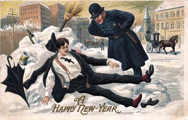 Binge Drinking-Simple English /New Year Postcard 1912 © wikicommons