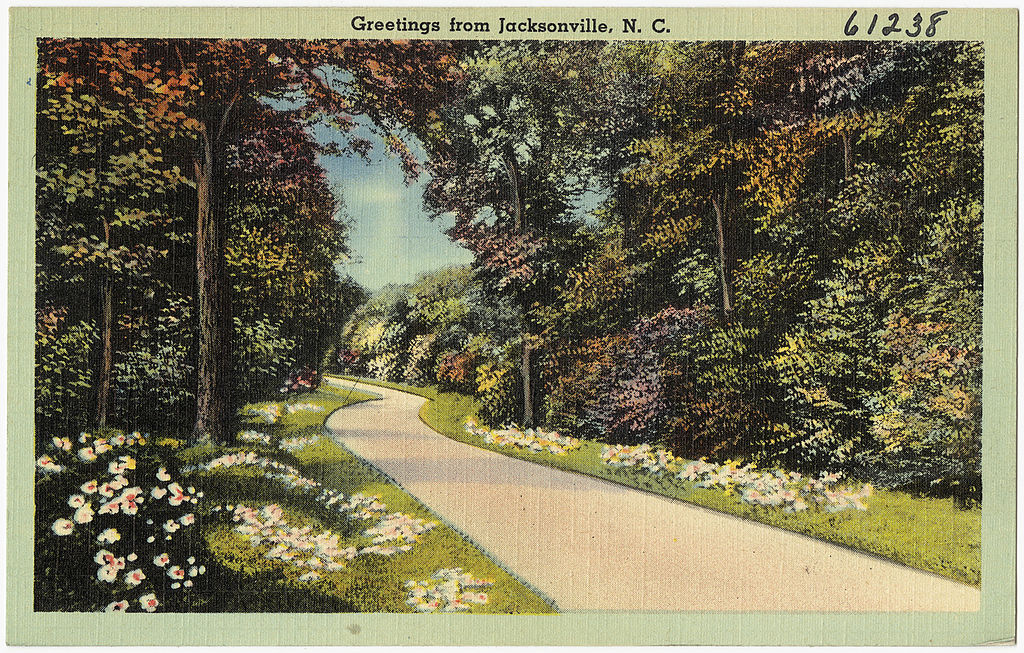 'Greetings from Jacksonville, NC' postcard   © The Tichnor Brothers Collection/WikiCommons