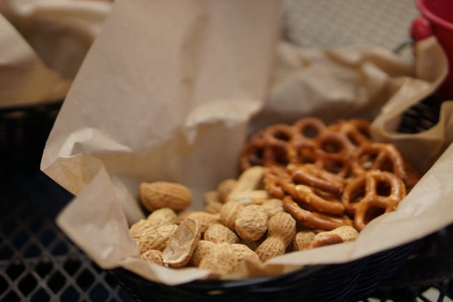 At the Lagunitas tap room in Petaluma provides free peanuts and pretzels in place of bread, to supplement beer and a meal. | © Kristen Stipanov