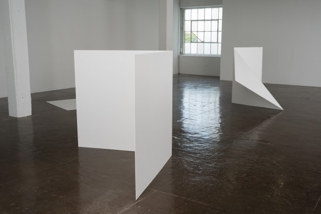 Leslie Hewitt, Untitled, 2012. Sheet metal with industrial coat, dimensions variable. Installation view: Where Paths Meet, Turn Away, Then Align Again, Artpace, San Antonio, 2012.   Image courtesy of The Power Plant, Photo by Todd Johnson.
