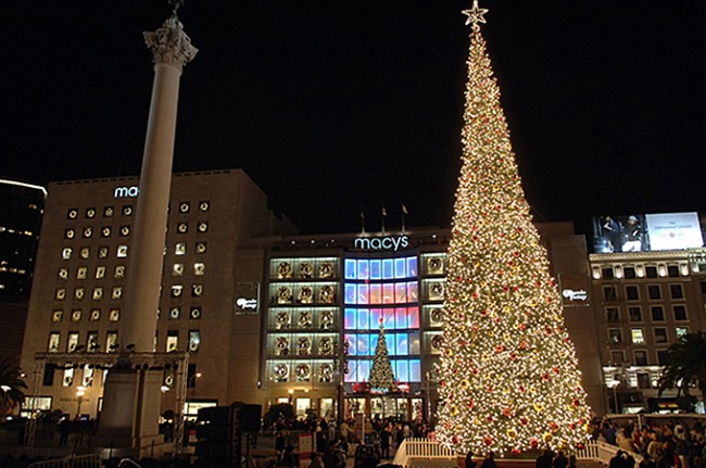 The gigantic tree that is Macy's holiday gift to San Francisco each year greets Union Square visitors. Photo courtesy of unionsquareshop.com