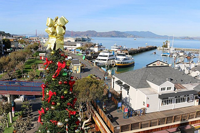 The famous Pier 39 Christmas tree stands vigil over the bayside tourist attraction. Photo courtesy of Pier 39