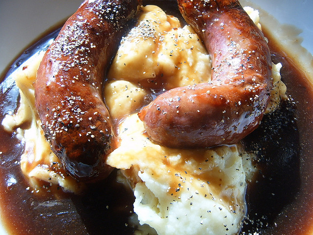 close-up of bangers and mash