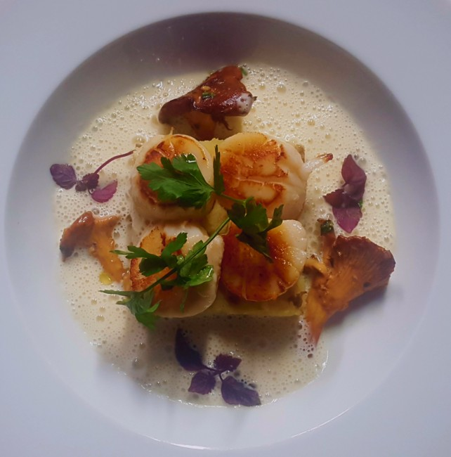 Scallops with wild mushrooms | Courtesy of Charlotte Café/Cuisine