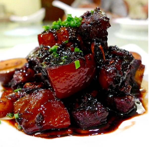 "Hongshao rou, or ""red cooked pork""."