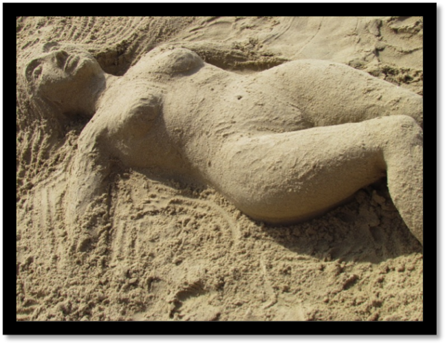 The Sleeping Mermaid There is so much sand to play in! This photo was taken at Geula Beach, South Tel Aviv.