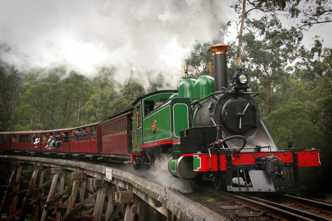 Train over Trestle Bridge - courtesy Puffing Billy