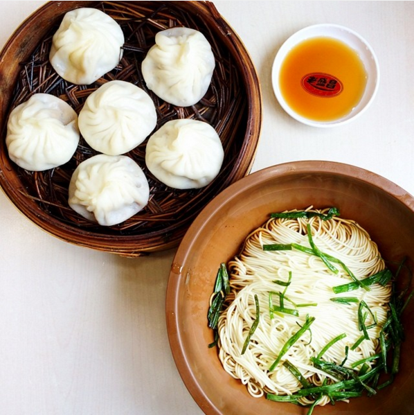 Soup dumplings and scallion oil noodles