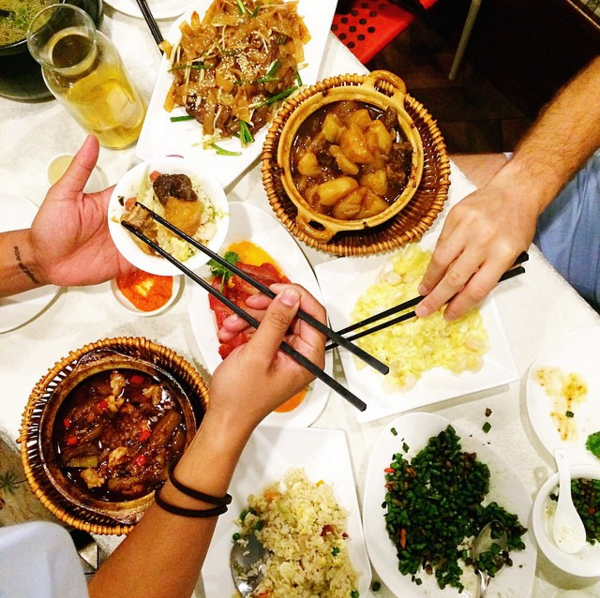 Family style dining in Shanghai