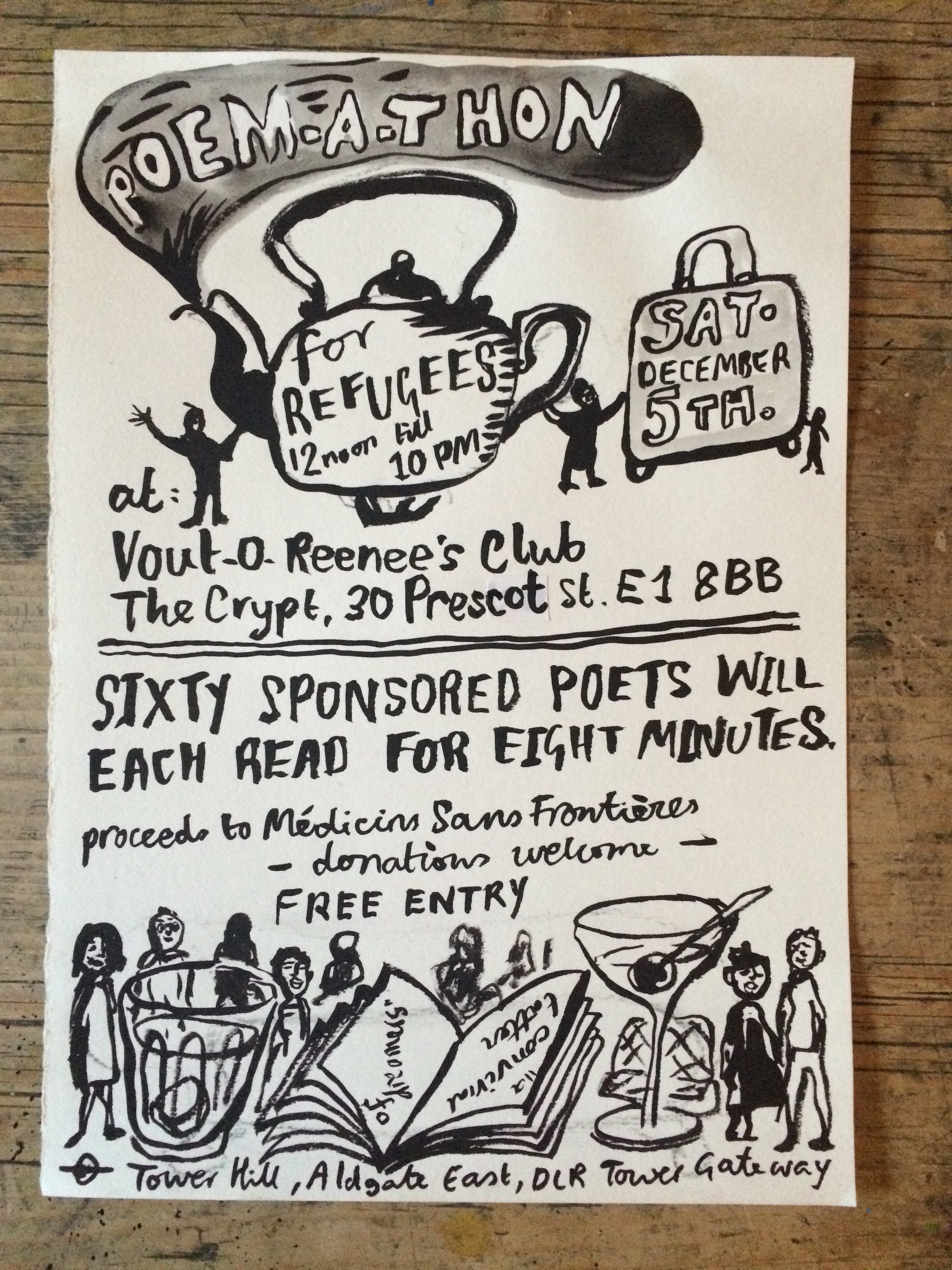 Poem-a-thon for refugees flyer | Courtesy of Vout-o-Reenee's Club