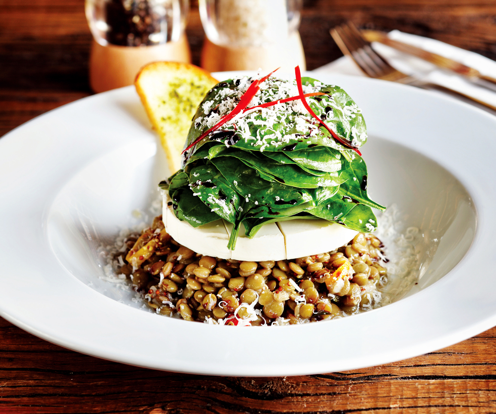 Prepared with a special presentation, goat cheese lentil salad © futuristman / Shutterstock