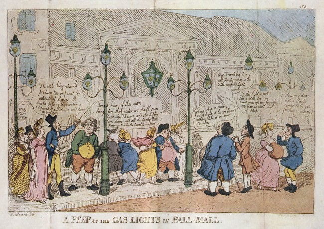 A depiction of the old gas lights | © Thomas Rowlandson/WikiCommons