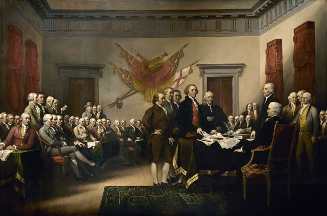 A room full of powdered wigs at the drafting of the Declaration of Independence | © John Trumbull/WikimediaCommons