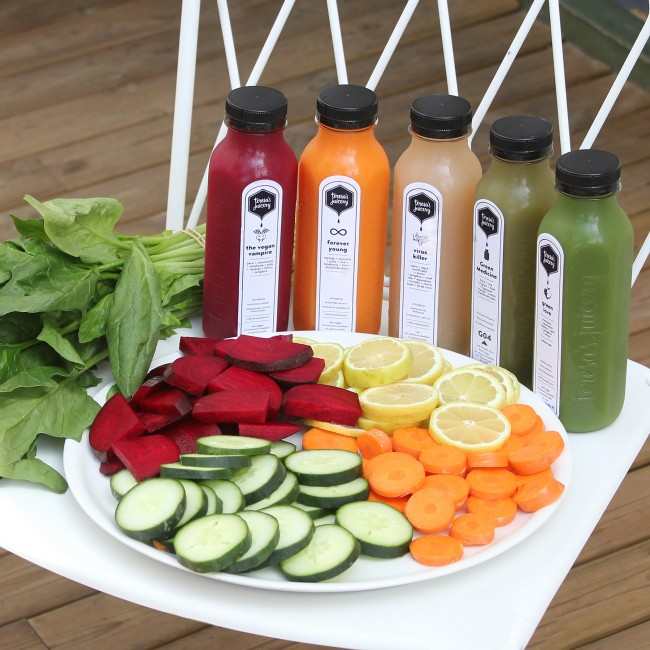 Luscious Juices at Flax&Kale | Courtesy of Teresa Carles Healthy Foods