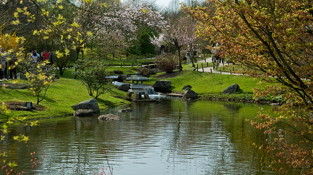 Pond with stone lantern | © theaucitron/Flickr