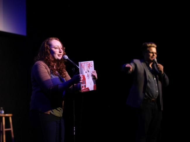 Emily Heller and Adam Conover talks cats at Fresh Out! | © Katherine Leon
