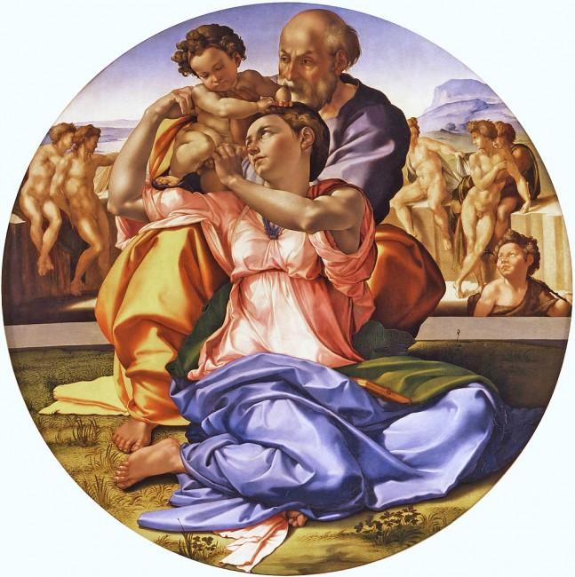 Michelangelo, Doni Tondo, Oil and tempera on panel, 120 cm (diameter), Galleria degli Uffizi, Florence, c. 1506-1508 | © Amandajm/WikiCommons
