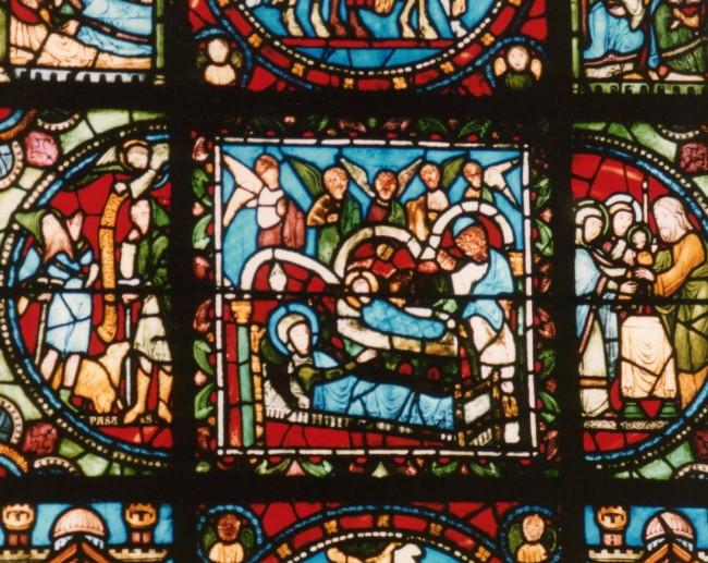 Detail in Nativity Scene Vitrail at Basilica of Saint Denis, Paris | ©Rebecca Kennison/WikiCommons
