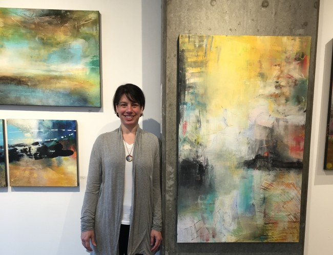Jennifer Pepin with Chris Foster's artwork | Courtesy of J. Pepin Gallery