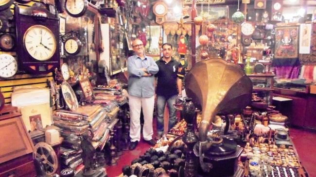 Mohamad Lateef and Bashir posing among curios, Old Curiosity Shop | © Aprameya Manthena