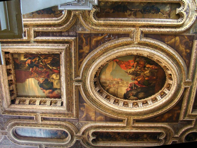 San Sebastiano, Venice - Coffered ceiling with canvases by Veronese @Tango7174 - Own work. Licensed under GFDL via Commons