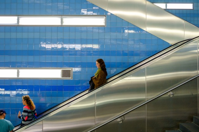 © Down | Courtesy of Nils Külper 'There is a subwaystation in Hamburg that is that colorful and full of brushed metal. The only thing you need is a person that shines in the middle of the escalator.'