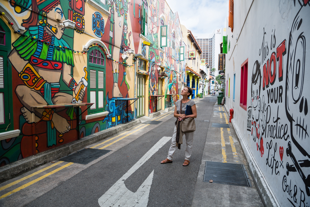 Graffiti on the walls of old buildings Haji Lane| © DoublePHOTO studio/Shutterstock