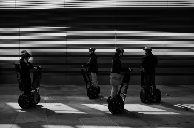 © Segway | Courtesy of Nils Külper 'Modern technology can lead to strange photos. People driving a Segway in circles. The light was great and created this strong diagonal.'