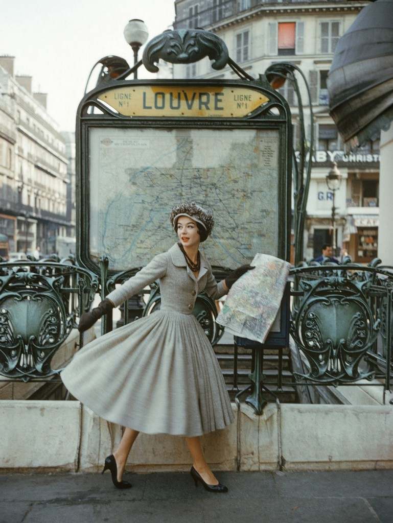 """Model in Dior by Mark Shaw in Paris in 1957 for LIFE magazine's September article """"A Bright Young Look in Paris"""" © Flickr/The Coincidental Dandy"""